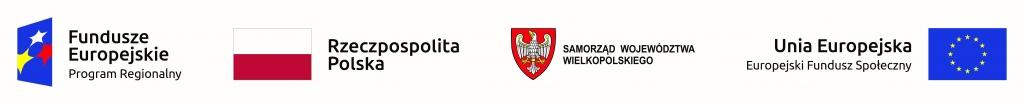 Zdjęcie przedstawia logo Funduszy europejskich, flagę Rzeczypospolitej Polskiej, godło samorządu województwa wielkopolskiego oraz flagę unii europejskiej